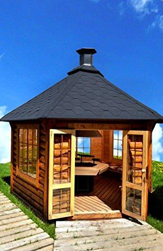 JUNIT Garten-Pavillon 9,2m² mit Grill Grillhaus Partyhaus Partyhütte