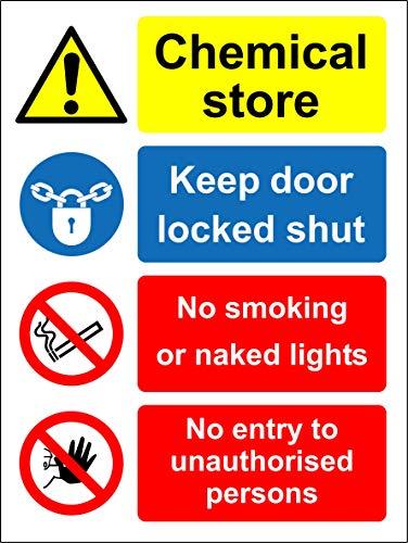 Cartello di sicurezza con scritta in inglese'Chemical Store Keep Door Lock Shut', autoadesivo, 200 mm x 150 mm