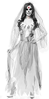GWNJSSX Halloween Women's Deadly Zombie Bride Costume Spooky Evil Apparel and Veil,White-XS