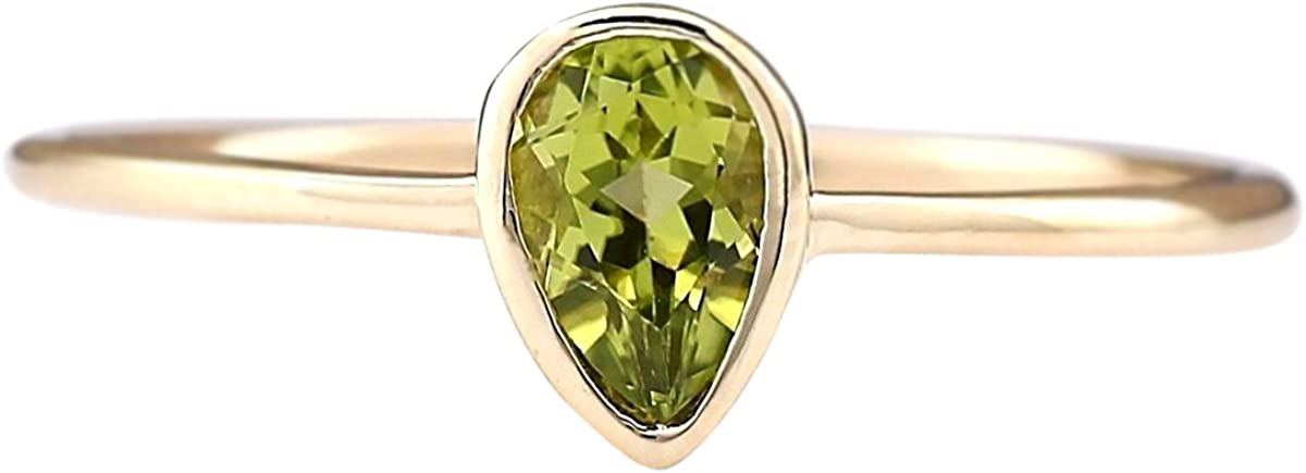 0.5 Carat Natural Green Peridot 14K Yellow Gold Solitaire Promise Ring for Women Exclusively Handcrafted in USA
