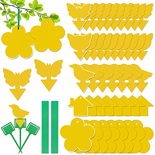 Mostfun 50 Stück Gelbe Fliegenfänger Aufkleberfallen Hängen und Steckbare Fliegenfangvorrichtung Selbstklebende Fallen für Topfpflanzen Geeignet