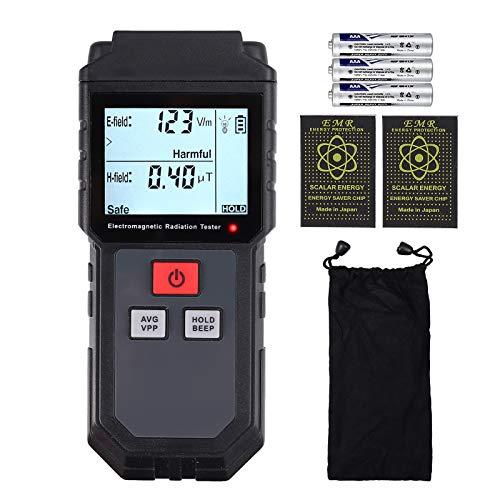 CAMWAY Misuratore di EMF, 1-1999V   m Rilevatore di radiazioni del campo elettromagnetico tenuto in mano Rilevatore di EMF mini LCD digitale con adesivo anti radiazioni