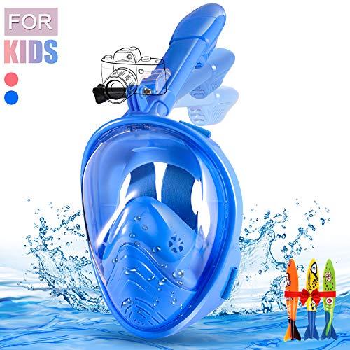 E-MANIS Máscara de Buceo,Plegable Máscara Snorkel 180 °Cara Completa de Panorámico Visión Tecnología Anti-vaho Anti-Fugas Mascara Snorkel Apoyo Camara Deportiva para Niños (Azul)