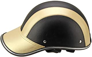 Helmet Durable Unisex Safety Protection Bicycle Half Cover gh Strength Motorcycle Riding Colorful Windproof Adjustable Mountain Bike Universal Outdoor(Gold)