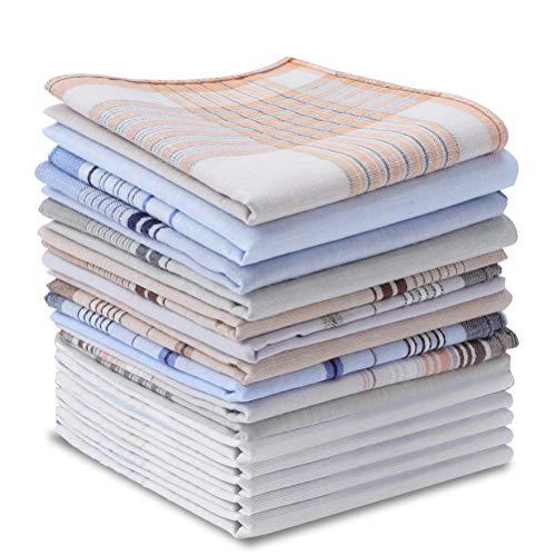umorismo 20 Stück Herren Stoff Taschentücher, Stofftaschentücher Herren Set, Reine Baumwolle Herrentaschentücher Cotton Handkerchiefs