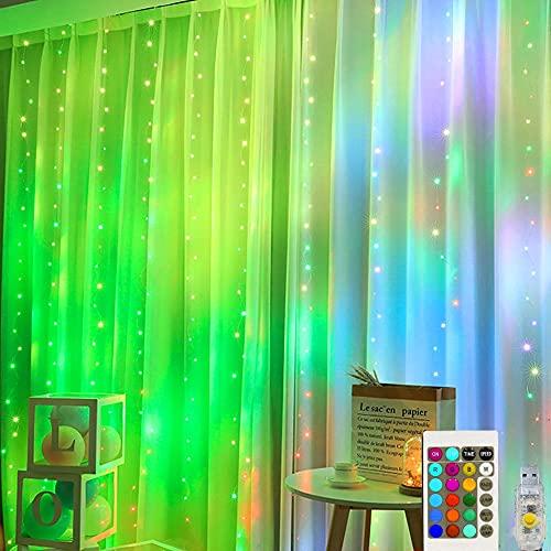 QXXZ 300 LED Cortina de Luces - Nuevo Upgrade 16 Colores 24 Llaves 3x3m Luces Cortina Navidad Impermeable Control Remoto Luz de Cadena para Interior Exterior Pared Boda Fiest