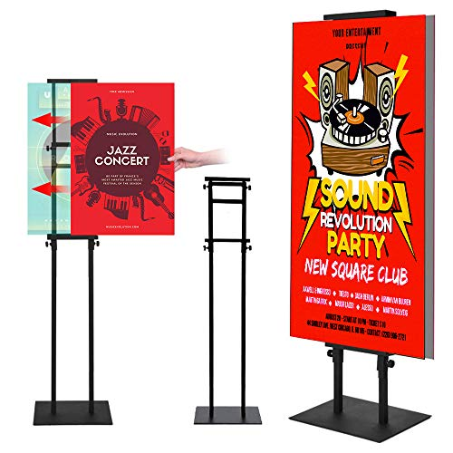 Poster Stand for Display Pedestal Sign Stand,Adjustable Floor Standing Sign Holder,Heavy Duty Banner Stand with Base Height Up to 75 inch Double-Sided for Board & Foam Sign