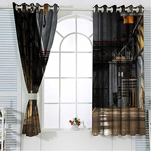 Industrial Noise Cancelling Curtains 96 Inch Length Dark Interior Grommet Blackout Curtains for Bedroom W84 x H96