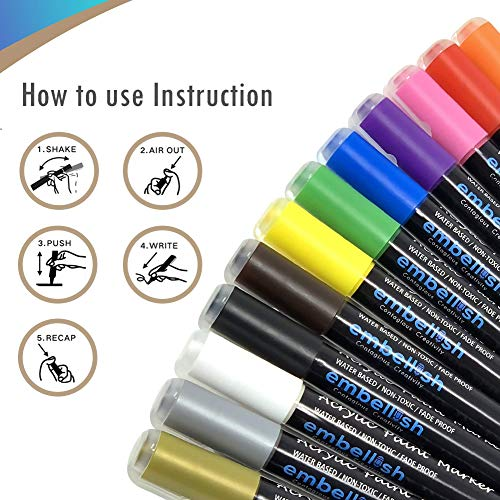 Acrylic Paint Marker Pens, Set of 12 Colors Markers Water Based Paint Pen for Rock Painting, Canvas, DIY Craft, School Project, Glass, Ceramic, Wood, Metal (Medium Tip) Photo #4