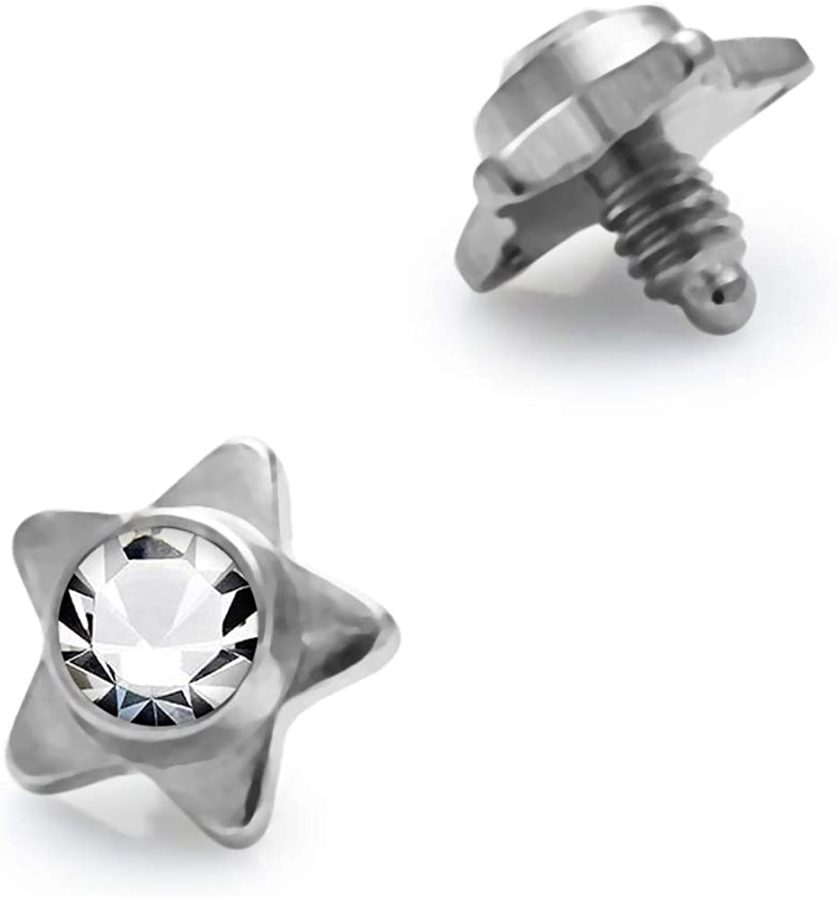 AtoZ Piercing Crystal Stone Star 316L Surgical Steel Top Micro Dermal Anchor Jewelry