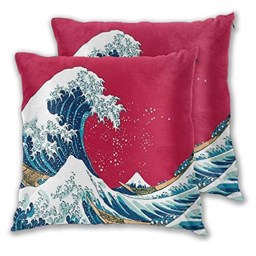 DECISAIYA 2 Funda De Almohada,Sea Blue Giant Waves of Kanagawa Estilo japonés Náutico Ocean Surf Tema Patrón acuático,Decotive Cojines Sala Sofás para Camas Sillas Jardín Coche,55x55cm