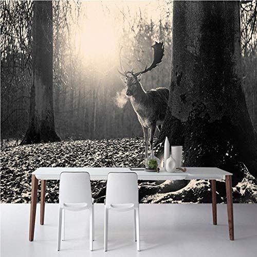 Fotobehang Modern Schrijven Zwart en Wit Elk Bos Mural Aangepaste Bar Woonkamer Tv Achtergrond Behang 30 x 300 cm.
