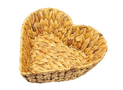 Cuenco de jacinto de agua en forma de corazón, natural, como frutero, cesta decorativa, 30 x 30 x 10 cm