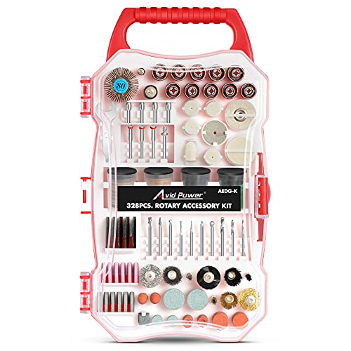 AVID POWER 328PCS Rotary Tool Accessories Kit, 1/8-inch Diameter Shanks Universal Fitment for Easy Cutting, Grinding, Sanding, Sharpening, Carving and Polishing