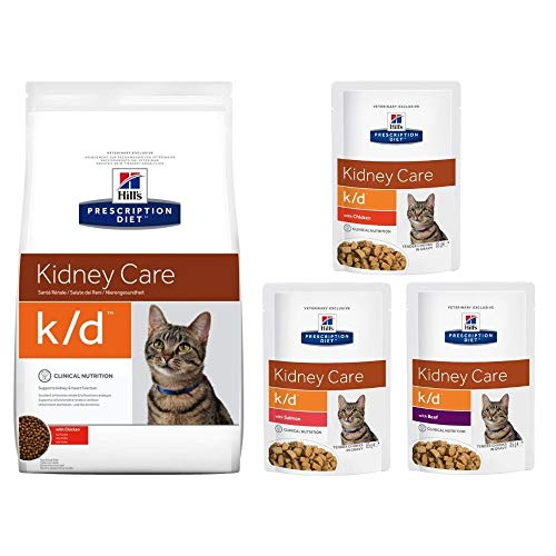 Hill's Prescription Diet Feline k/d Kidney Care - Chicken 1.5kg Dry Bag + 3 X 85g Wet Pouches (1 X Chicken, 1 X Salmon And 1 X Beef) - Balanced Dietetic Food For Adult Cats