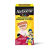 Vitamin C 500mg (per serving) - Airborne Kids Very Berry Chewable Tablets (32 Count in a Box), Gluten Free Immune Support Supplement With Antioxidants, Vitamins A C E, Zinc and Selenium