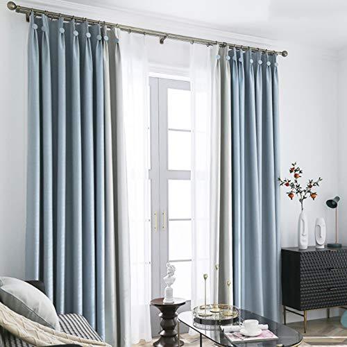 LJWLZFYF Vollverdunkelungsvorhänge - modernes, minimalistisches Soft mit perforierten Vorhängen - Balkon-Sonnenschutz für Schlafzimmer 150 * 267 cm (Breite * Höhe), blau