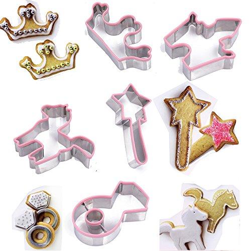 TAMUME Princesa Kit de Galletas Incluyendo la Varita Mágica, Corona, Palacio, Anillo de Diamante y Del Caballo Acero Inoxidable Molde de la Galleta Conjunto de Hornear Pack de 5 (Princesa)