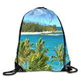 engzhoushi Mochila de Cuerda,Bolsa de Cuerdas Drawstring Backpack Bag Hawaii Blue Ocean Blue Sky Rucksack For Travel