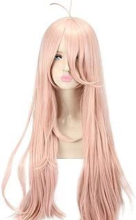 HSIU New Super DanganRonpa V3 Cosplay Wig Miu Iruma Costume Play Woman Adult Wigs Halloween Anime Game Hair wig custom (Pink gold)