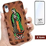 iProductsUS Wood Phone Case Compatible with iPhone Xs MAX and Screen Protector, UV Print Virgin Mary, Engrave Roses, Built-in Metal Plate, Compatible Wireless Charger,TPU Shockproof Cover (6.5 inch)