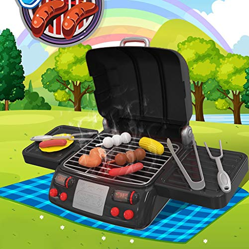 Kingspinner US Home Kitchen Toys,Spray Griddle Electric Stove Play Food Kitchen Grill Set Kids House Play Toys with LED Lights,Best Gift for Kids