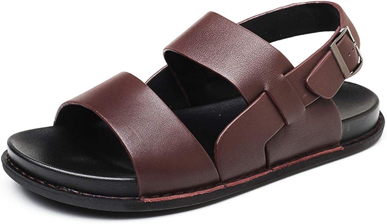 Alaeo Sandalen für Mnner aus echtem Leder atmungsaktiv offene Zehen Strand Schuhe Gre lssig Hausschuhe einstellbar Wandern Wandern sportlich Sandalen