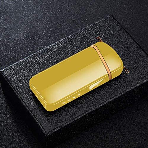 nulala sigarettenaansteker, USB-sigarettenaansteker, adapter, opladen elektronische dual arc, vlamloze oplaadbare winddicht, power display, cadeau voor heren goud