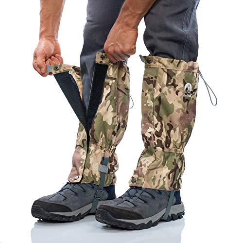 Pike Trail Leg Gaiters – Waterproof and Adjustable Snow Boot Gaiters for Hiking, Walking, Hunting, Mountain Climbing and Snowshoeing (Defense Force Camo)