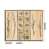 IWILCS Holzstempel zum Basteln, 20PCS Holz Stempel Gummi Holz Vintage Holzstempel Hochzeit, Keksstempel Tischdeko, Natürliche Pflanze Seal Set - 2