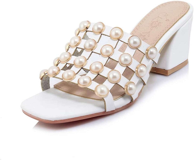 T-JULY Summer shoes Women Mules Pumps Sweet Pearls shoes Woman High Heels Peep Toe Slip-on Footwear
