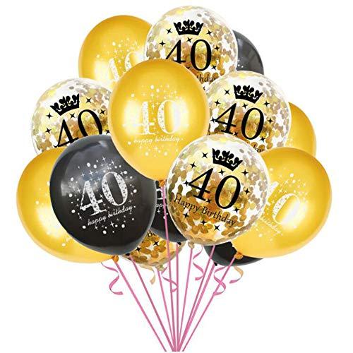 Oblique Unique® Konfetti Luftballon Set für 40. Geburtstag Feier Party Ballons 15 Stück Schwarz Gold Transparent
