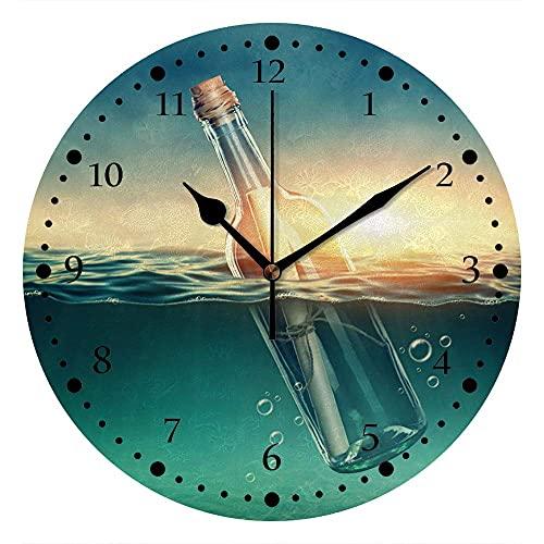 Silenzioso orologio da parete senza ticchettio a batteria alla deriva bottiglia mare scoperto decorazione casa ufficio camera da letto soggiorno orologio muto 10 pollici