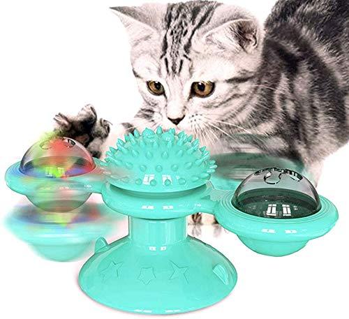 T.Face Windmühle Katzenspielzeug, Plattenspieler necken Haustier Spielzeug, kratzen Tickle Cats Haarbürste Lustige Katzenspielzeug kratzen Haarbürste mit Saugnapf Basis