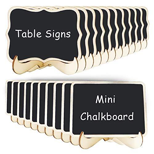 VCOSTORE Mini pizarra de sobremesa, 2 estilos Pizarras pequeñas con soporte de caballete para etiqueta de alimentos, números de mesa y bodas Decoración de eventos (20 piezas)