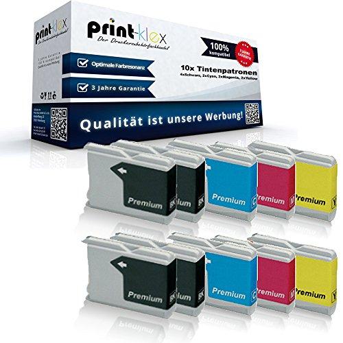 10x kompatible Tintenpatronen für Brother LC970 LC1000 MFC 235C MFC 885CW MFC 3360C MFC 5460CN MFC 5860CN Brother Fax 1355 Fax 1360 Fax 1460 - Sparpack - Eco Plus Serie - 4x Black 2x Cyan 2x Magenta 2x Yellow