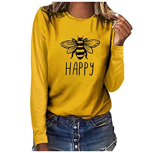Smonke Damen Mode T-Shirt Plus Size Print Bluse Rundhals langärmelige Kleidung Solide Oberbekleidung Tourismus beiläufige Sweatshirts Polyester Oberteile