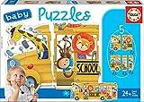 Educa- Bus de Animalitos Pack de 5 Puzzles, Multicolor (17575)