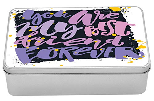 "Ambesonne Best Friend Metal Box, Abstract and Funny Design of Writing in Funky Paint Brush Strokes, Multi-Purpose Rectangular Tin Box Container with Lid, 7.2"" X 4.7"" X 2.2"", White and Multicolor"