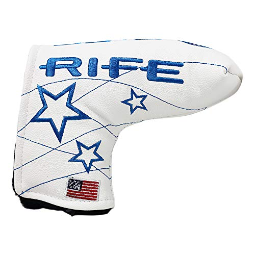 Rife Golf Collectors Edition - Retro L Shape Blade Putter Blue Star Style Headcover. Limited Edition Tour Vintage Leather Style Custom Design Putter Head Cover