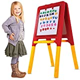 GoodLuck Baybee 2in1 Magnetic Easel Board for Home Kids School with Adjustable Height Plastic Multicolour Writing Board for Kids, Age 3 Years