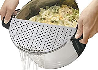 GuDoQi Scolapasta Acciaio Inossidabile Colino da Cucina con Manico Disegno a Mezzaluna Universale per Scolare Tagliatelle Verdura Frutta e Altri Alimenti