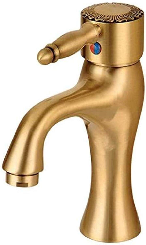 Modern Hei Und Kalt Wasserhahn Vintage überzugarmaturen Waschtischmischer New Luxury Autique Carved Brushed Gold Basin Wasserhahn