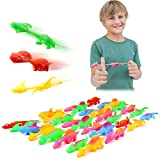MIMIDOU 30 Pcs Finger Slingshot Dinosaurs Animal Toy, Funny Stretchable Flick Rubber Animals, a Variety of Different Color Simulation Animals Great for Various Festivals and Parties.