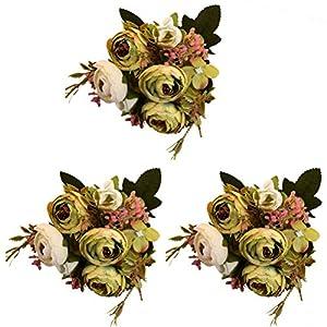 DAN&LAN 3PCS Handmade Artificial Camellia Bouquets Silk Flowers Fake Flowers for Home Decoration Wedding