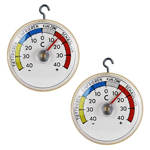Juego de 2 termómetros para frigorífico de Lantelme, con ganchos de metal, para frigorífico o congelador, analógico 4947