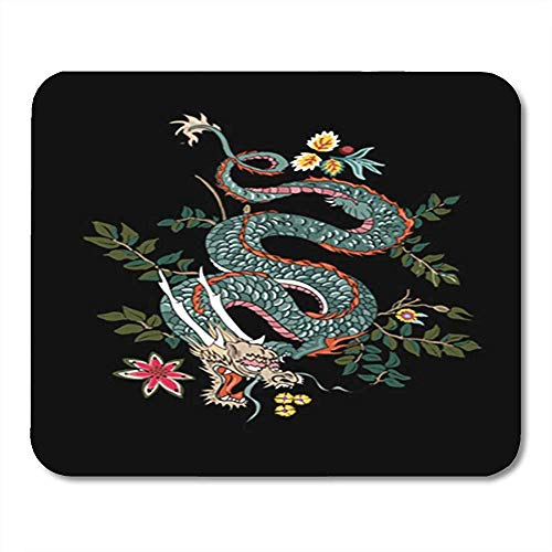 Muis Pads Chinese Draak Bloemen Tattoo Patch Japanse Aziatische Zwart Zodiac Office Decor Nonslip Muis Mat Rubber Backing Mousepad Gaming Mouse Pad 25X30Cm