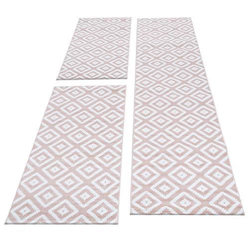 SIMPEX Bettumrandung Läufer Teppich Kurzflor Kariert Muster Läuferset 3 teilig Schlafzimmer Flur Meliert Pink Weiß, Bettset:2x80x150+1X80x300