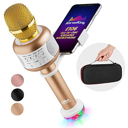 KaraoKing Karaoke Microphone - Wireless, Bluetooth Karaoke Machine for Kids & Adults - Includes Mic with Speaker, Disco Light & Phone Holder - Perfect for Rock n Roll Parties (E106 2.0 Gold)