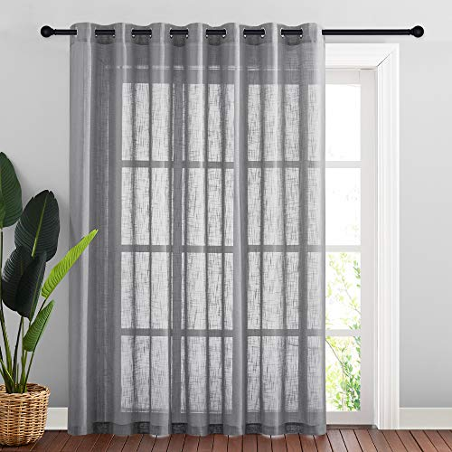 NICETOWN Linen Textured Window Curtain - Semi Translucent Extra Wide Sheer Voile Curtain Drape with Grommet Top for Living Room/Patio/Sliding Door, Dark Grey, 100W x 84L inches, 1 Panel